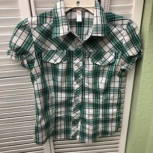 EUC Green and white blouse with a western look !